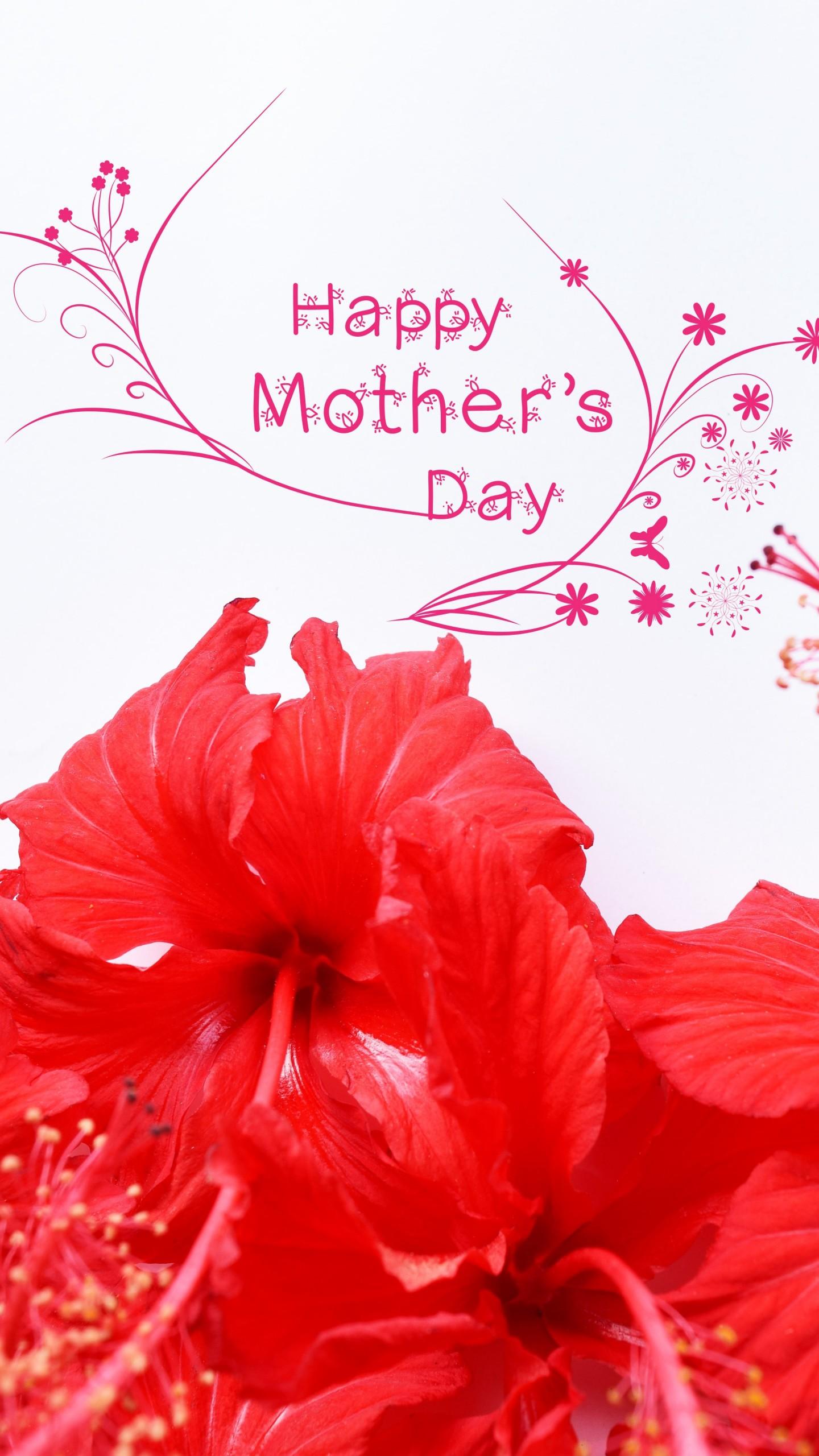 عکس زمینه روز مادر مبارک با گل قرمز پس زمینه