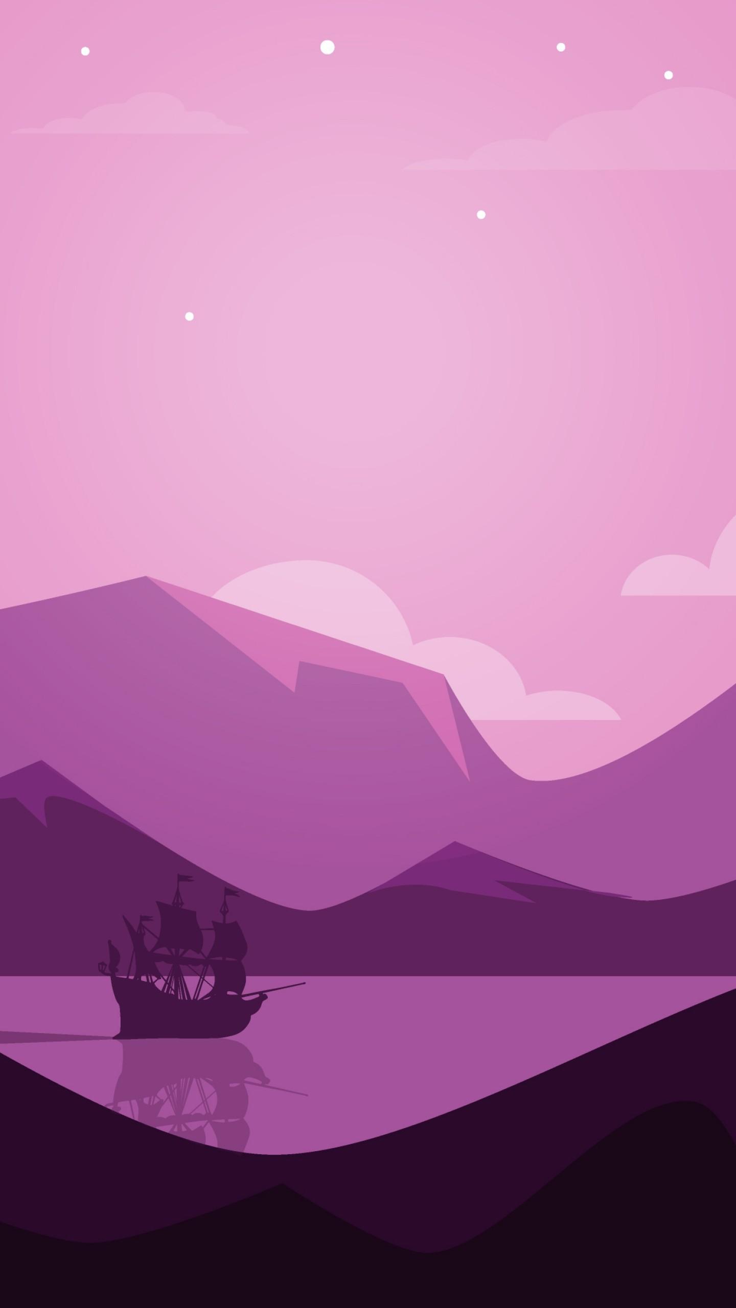 عکس زمینه چشم انداز کوه دریا با رنگ بنفش پس زمینه