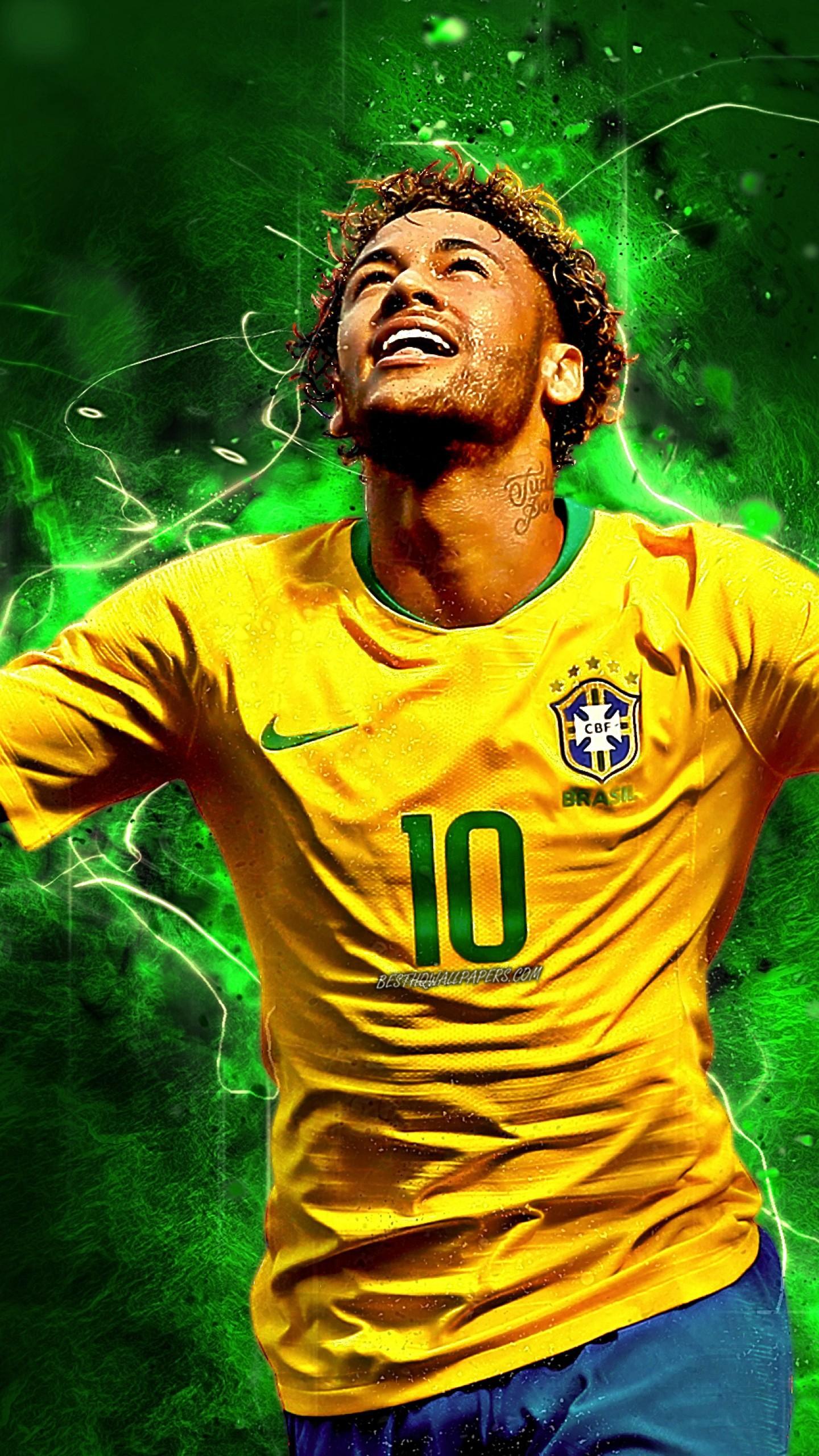 عکس زمینه نیمار با لباس طلایی تیم فوتبال برزیل پس زمینه