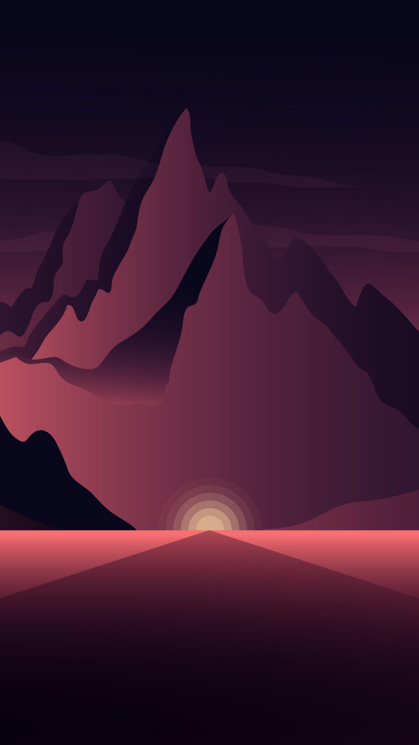 عکس زمینه نقاشی کوه ها در تاریکی سحر پس زمینه