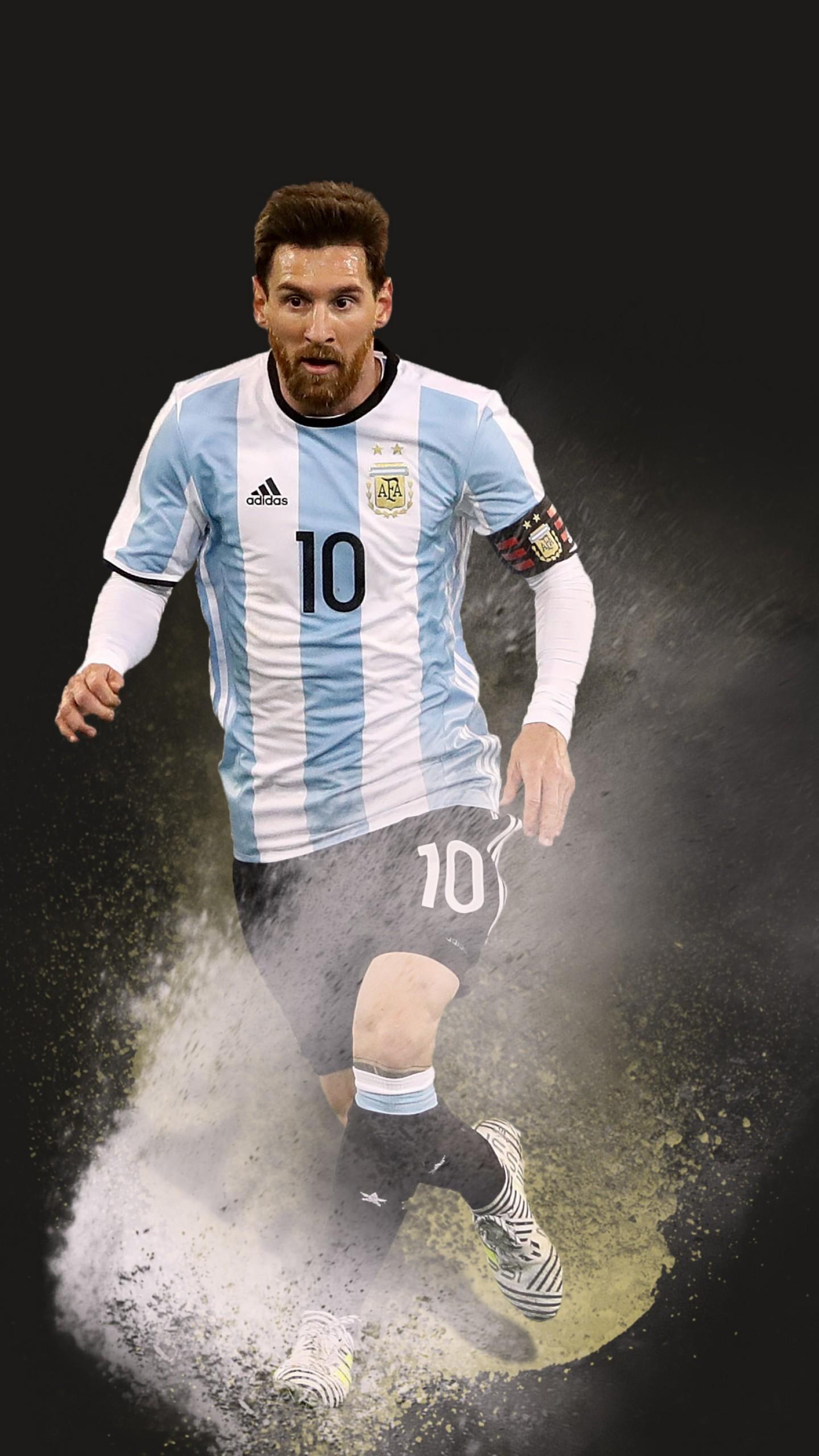 عکس زمینه لیونل مسی بازیکن بارسلونا در لباس تیم آرژانتین پس زمینه