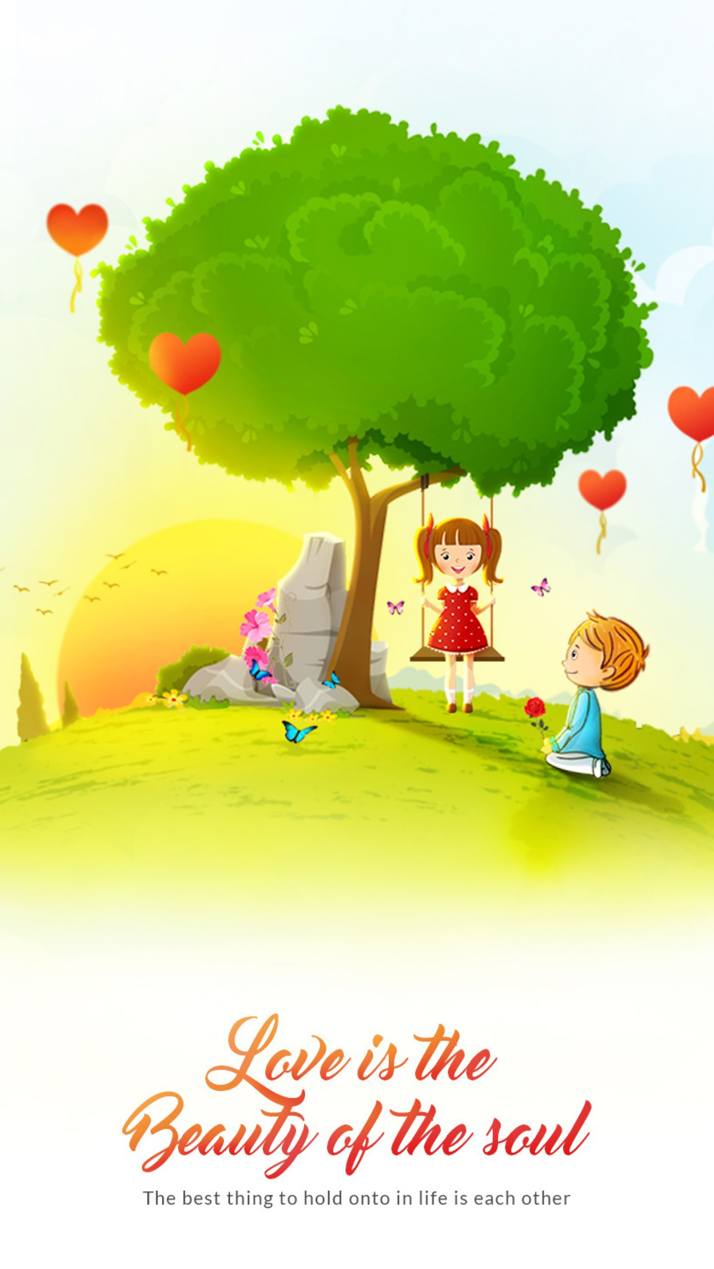 عکس زمینه کودکان و بادکنک هایی به شکل قلب پس زمینه