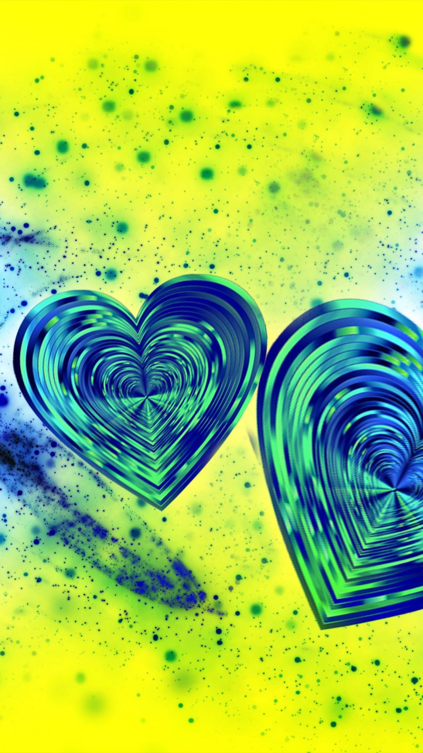 عکس زمینه قلب های آبی رنگ در صفحه زرد پس زمینه