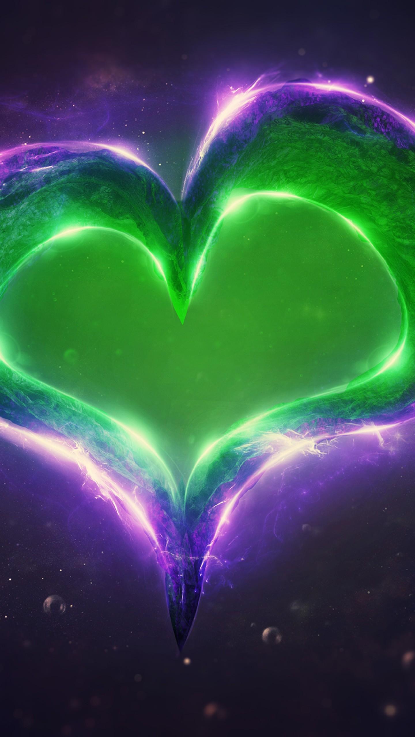 عکس زمینه عشق قلب روشن بنفش و سبز پس زمینه