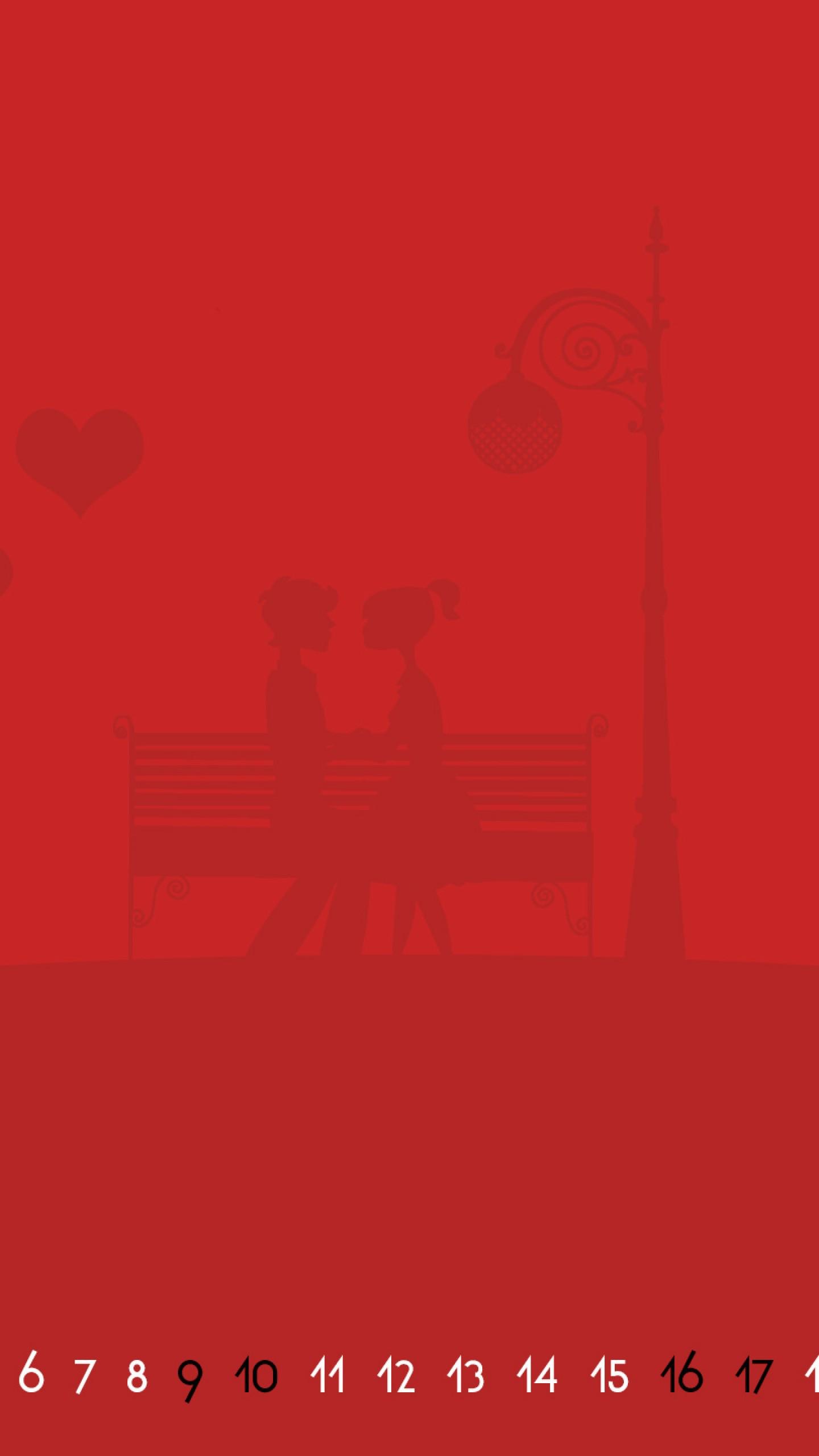 عکس زمینه تقویم قرمز ماه فوریه و زن و شوهر عاشق پس زمینه