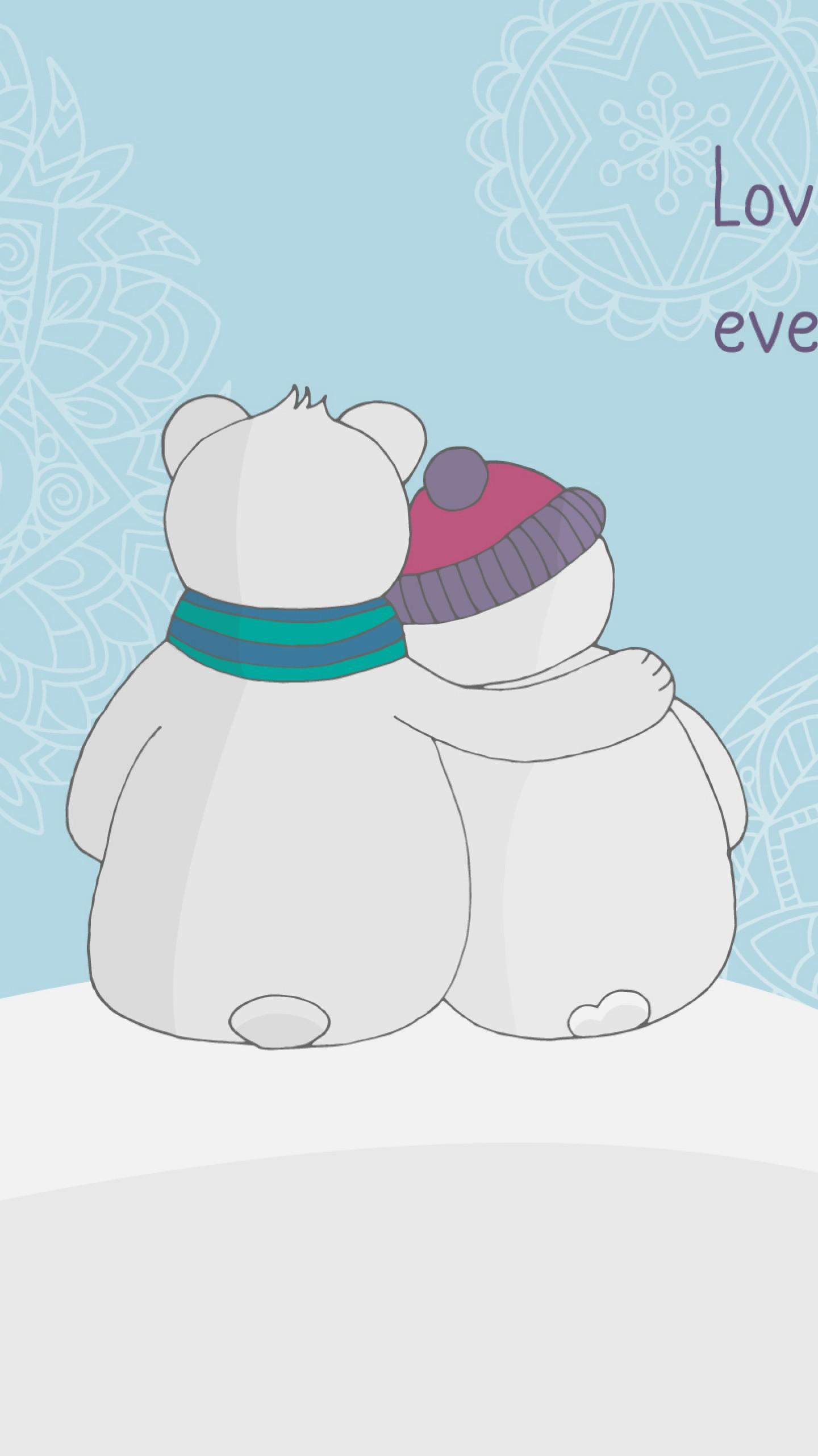 عکس زمینه دو آدم برفی با آغوش گرم در زمستان پس زمینه