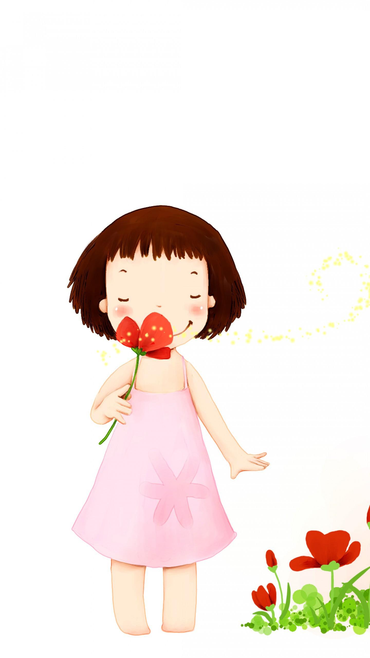 عکس زمینه تصویر کارتونی دختر زیبا با گلی در دست پس زمینه