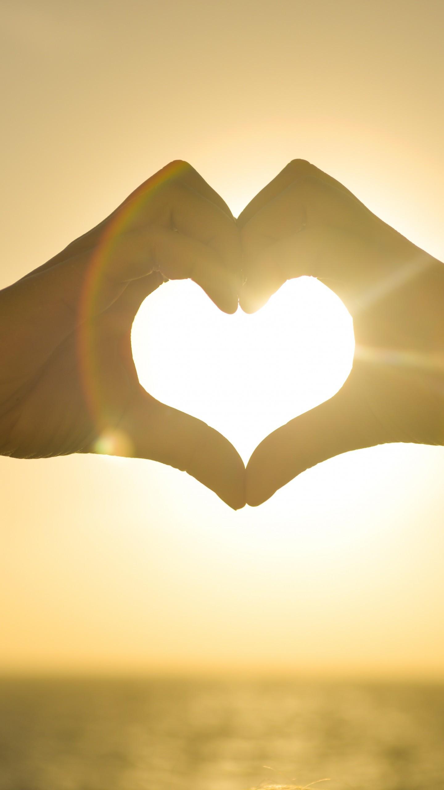عکس زمینه دست های عشاق به شکل قلب در طلوع خورشید پس زمینه