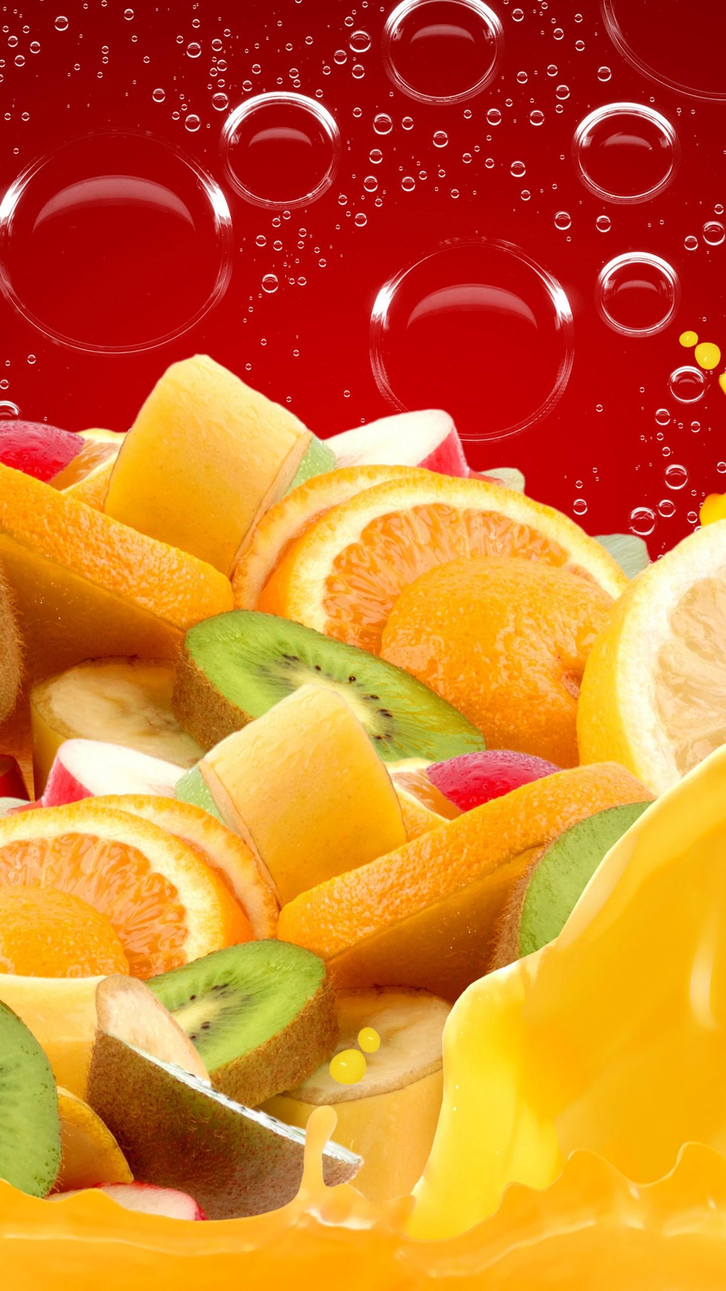عکس زمینه سبک زندگی با میوه های پرتقال کیوی و موز پس زمینه