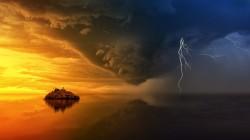 عکس زمینه جزیره طلایی و طوفان های آینده
