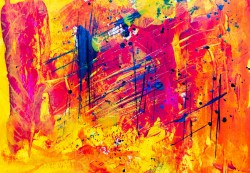 عکس زمینه نقاشی انتزاعی زرد و قرمز
