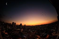 عکس زمینه منظره زیبای شهر در غروب