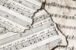عکس زمینه کاغذ نت های موسیقی