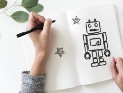 عکس زمینه نقاشی ربات با قلم سیاه