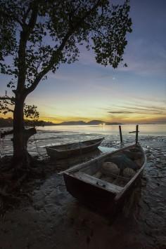عکس زمینه قایق به گل نشسته کنار ساحل