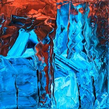 عکس زمینه نقاشی انتزاعی آبی و قرمز