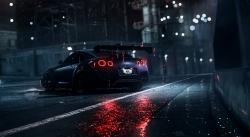 عکس زمینه نیسان GTR در شب بارانی