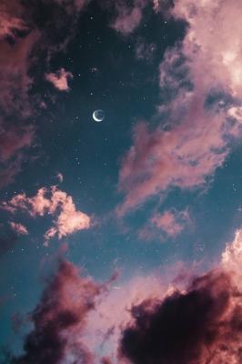 عکس زمینه ماه و آسمان ابری زیبا