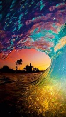 عکس زمینه موج رنگی تابستان