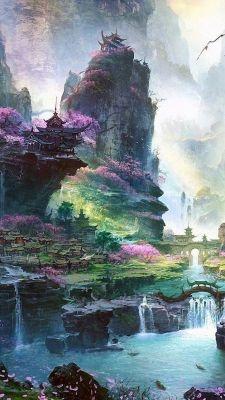 عکس زمینه نقاشی فانتزی از طبیعت