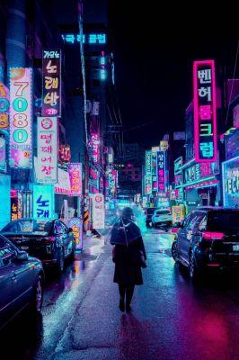 عکس زمینه چراغ های نئون شهر در شب