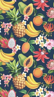 عکس زمینه میوه موز آناناس انبه