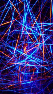عکس زمینه نور های نئونی آبی و زرد