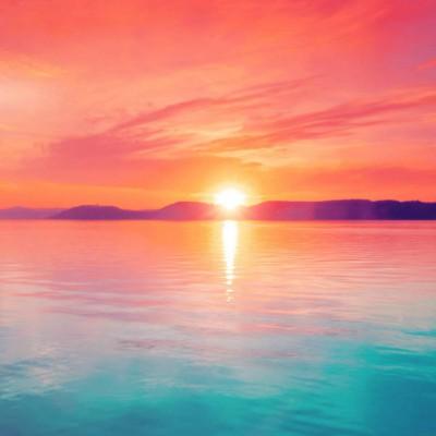 عکس زمینه غروب زیبا دریای آرام