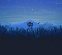 عکس زمینه مینیمال ساده و زیبا شب جنگل کوهستانی