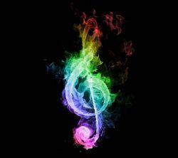 عکس زمینه نت موسیقی رنگارنگ