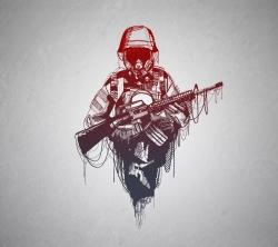 عکس زمینه نقاشی گرافیکی سرباز