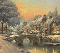 عکس زمینه نقاشی کلاسیک شهر برفی