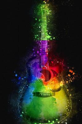 عکس زمینه 4K گیتار رنگی