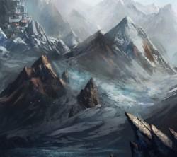 عکس زمینه نقاشی طبیعت کوهستان و قلعه
