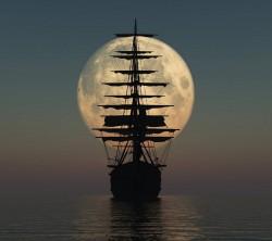 عکس زمینه کشتی و ماه
