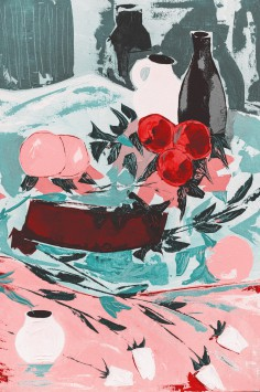 عکس زمینه نقاشی هنری کوزه و گیلاس