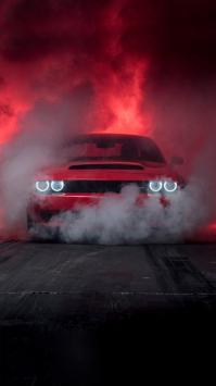 عکس زمینه ماشین دوج چلنجر 2019 قرمز عصبانی
