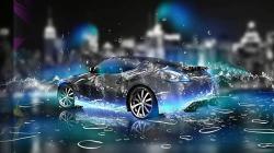 عکس زمینه ماشین غرق در قطرات آب