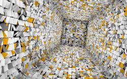 عکس زمینه تونل مکعبی زرد و سفید