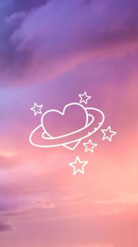 عکس زمینه آسمان با قلب پرستاره صورتی