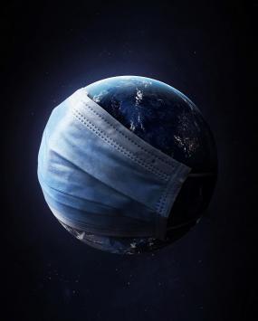 عکس زمینه کرونا ماسک کره زمین