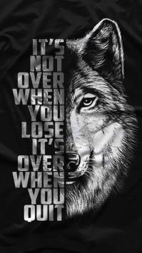 عکس زمینه سیاه سفید گرگ با نوشته انگلیسی