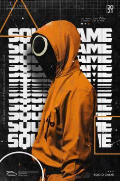 عکس زمینه پوستر نارنجی سریال بازی مرکب Squid Game