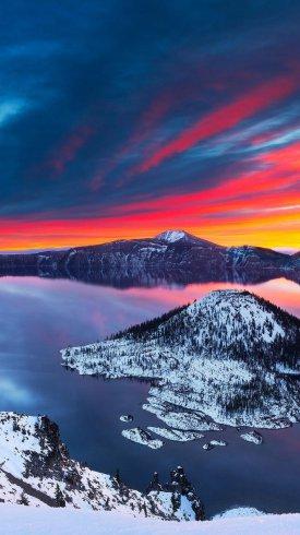عکس زمینه تصویر پارک ملی کرایتر لیک در زمستان
