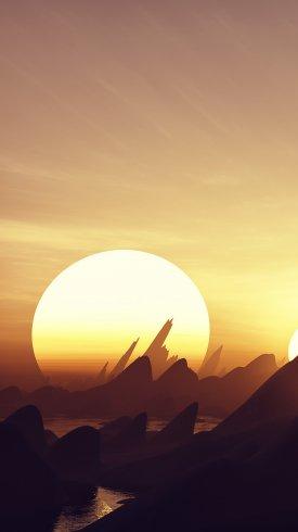 عکس زمینه گرافیک خلاق غروب خورشید