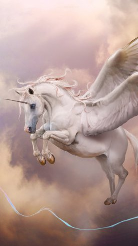 عکس زمینه پرواز اسب سفید تک شاخ