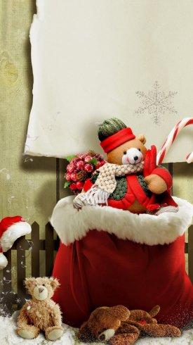 عکس زمینه خرس برفی هدیه کریسمس
