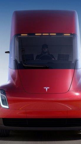عکس زمینه نیمه کامیون های قرمز رنگ برقی تسلا