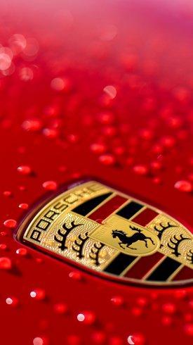عکس زمینه لوگواتومبیل پورشه قرمز رنگ