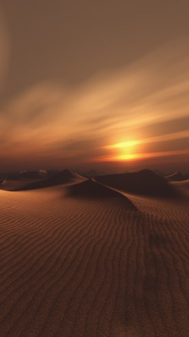 عکس زمینه غروب آفتاب در کویر گرم رویایی